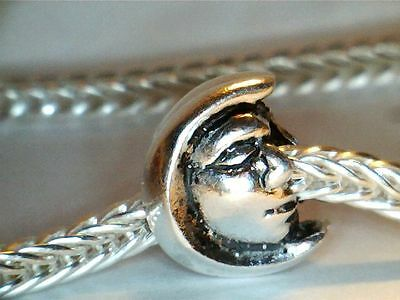 Silver Plated ** Man In The Moon Face #2 ** Spacer Bead Charm ** See My Store