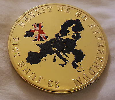 BREXIT Gold Coin Color Europe Map UKIP United Kingdom Man Vote London Politics C