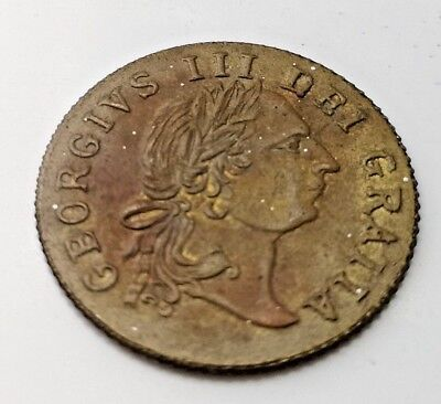 1797 Token Old Coin Good Old Days Gold Lustre English Kings Head Coat of Arms UK