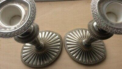 Pair of Falstaff England Adams style Oval Shaped silver plated candlestick 10""