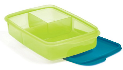 Tupperware Large Divided Lunch It Container ~ Green & Blue ~ New