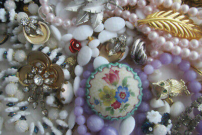 Estate Vintage to Now Junk Drawer Lot Costume Jewelry Wear Resell Crafts Art #47