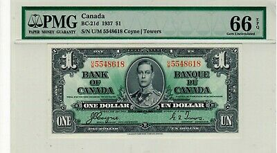 Bank of Canada, 1937 $1.00 Banknote, GUNC 66 EPQ.