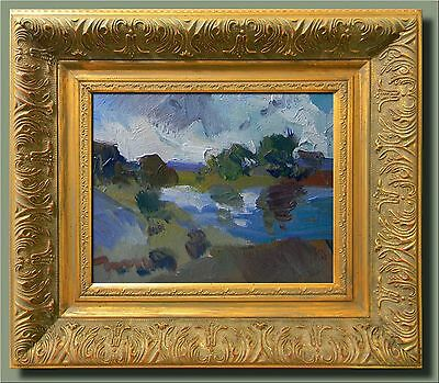 JOSE TRUJILLO MODERN Abstract FRAMED Oil Painting Impressionist LAKE TREES SKY