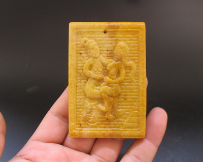 Old Chinese,noble collection,manual sculpture,jade,Man Woman Art,pendant Y5115