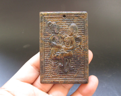 Old Chinese,noble collection,manual sculpture,jade,Man Woman Art,pendant Y5116