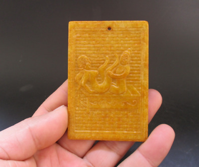 Old Chinese,noble collection,manual sculpture,jade,Man Woman Art,pendant Y5101