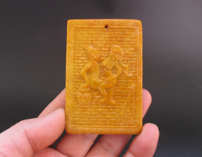 Old Chinese,noble collection,manual sculpture,jade,Man Woman Art,pendant Y5107