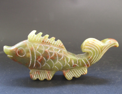 Old China,natural jade,collection,Manual sculpture,fish,Small statue Y5117