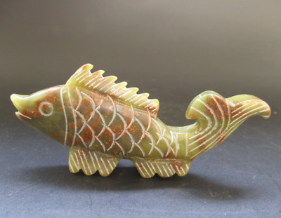 Old China,natural jade,collection,Manual sculpture,fish,Small statue Y5120