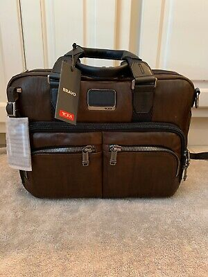 8b4e85c7df16 TUMI MEN'S ALPHA Bravo Albany Slim Commuter Brief Briefcase Dark Brown  932640