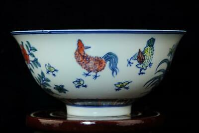 CHINESE PORCELAIN BOWL HAND-PAINTED chicken  QIANLONG MARK b01