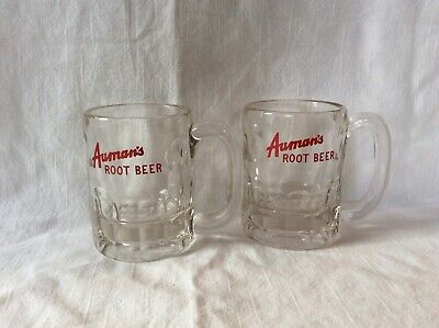 Auman's Root Beer Mugs Vintage Heavy Glass Galena IL  set of 2 excellen