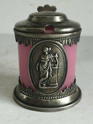 Circa 1870 Rogers Smith & Co New Haven SIlver Plate Cased pink glass JAM JAR Pot