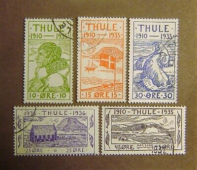 """Greenland """"Thule Issues"""" Set of 5 Different Used F-VF Complete"""