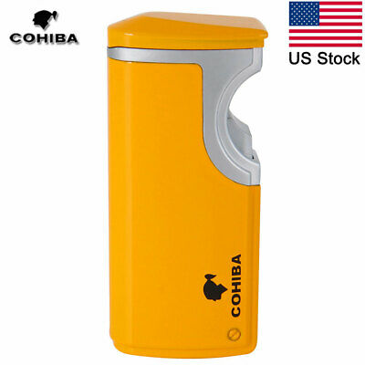 COHIBA 3 Torch Butane Jet Flame Metal Gas Cigar Cigarette Lighter w/Punch Yellow