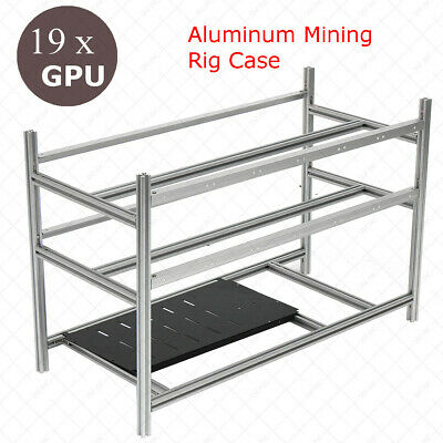 19 GPU Stackable Open Air Frame Mining Rig Case Aluminum Miner BTC Ethereum AUS
