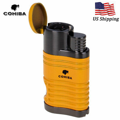 COHIBA Refillable Metal 4 Torch Jet Flame Cigar Cigarette Lighter w/Punch Yellow