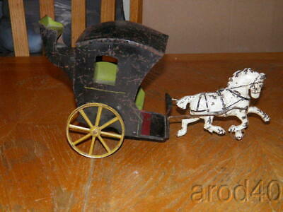 Early Cast Iron Horse Drawn Tin Coach Ca 1870'S Look Good Piece