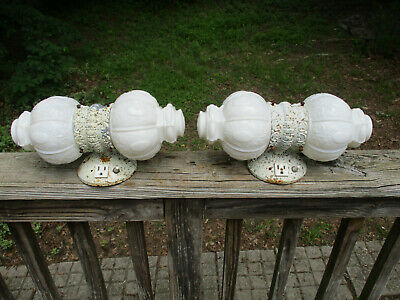 Antique Vintage 2 Matching Pair ornate Milk Glass Sconces Fixtures with outlets