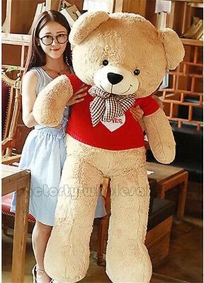 63'' Giant Big Huge Teddy Bear Plush Soft Stuffed Toys Doll Birthday Gift Sweate