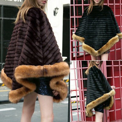 Winter Women Coat Faux Fur Warm Cape Shawl Coat Lady Jacket Outwear One Size