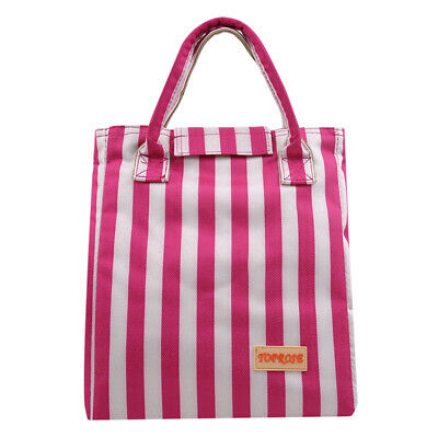 Portable Insulated Lunch Bag Women Tote Striped Aluminum Foil Cooler Handbags LG