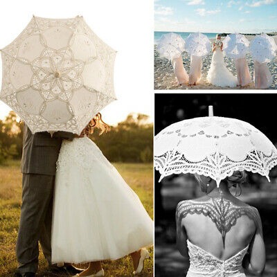 Retro Vintage Handmade Lace Parasol Umbrella For Bridal Wedding Photo Album