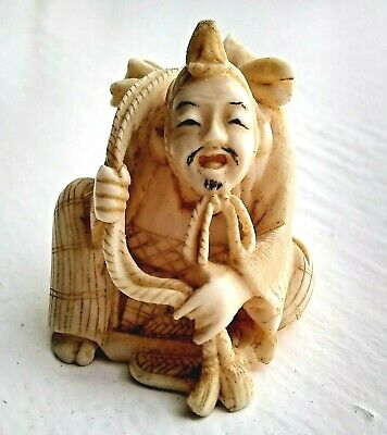 Antique 19th Century Japanese Netsuke Fisherman with Fish Over Shoulder (Signed)