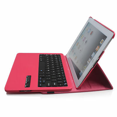 360° Rotating Leather Girls Pink Case Ultra-thin Bluetooth Keyboard For iPad 2