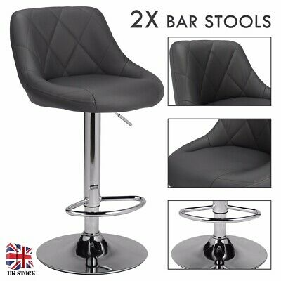 Bar Stools X2 Leather Swivel Bar Stools Gas Lift Rest Chairs Kitchen Breakfast