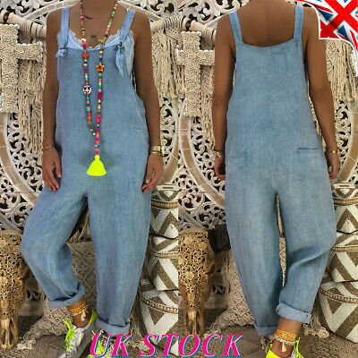 Womens Ladies Denim Dungarees Overalls Casual Loose Wash Jeans Jumpsuit Pants UK