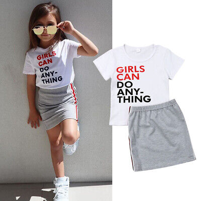 2pcs Toddler Kids Baby Girls T-shirt Tops Cotton Skirt Dresses Clothes Outfit UK