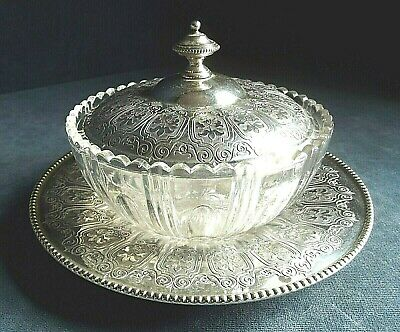 "SUPERB 7"" ~ SILVER Plate & Fluted GLASS ~ Butter / Caviar BOWL ~ c1900"
