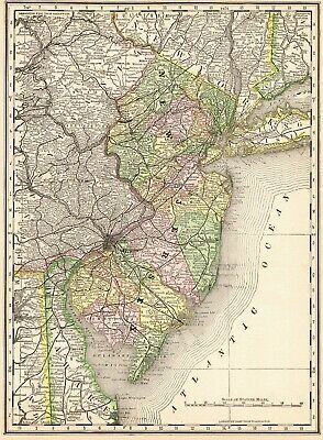 1880 Antique NEW JERSEY State Map Vintage Map of New Jersey Gallery Wall 6639