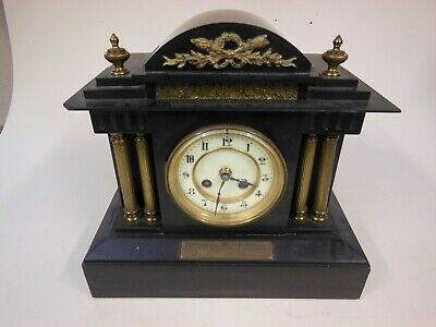Black Slate Chiming Mantel Clock with French Movement  L P Japy & Cie circa 1890