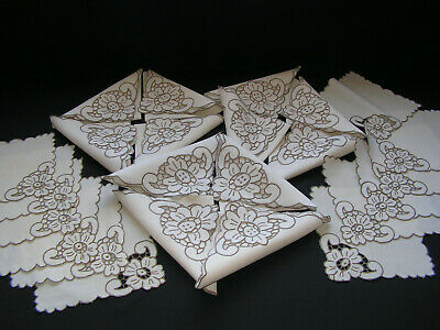 24 Bful Vtg Madeira Hand Embroidered Cutwork Flower  Linen 12 Napkins & 12 Mats