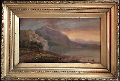 19th CENTURY WELSH MOUNTAINOUS LAKE SCENE AT SUNSET - SIGNED OIL PAINTING