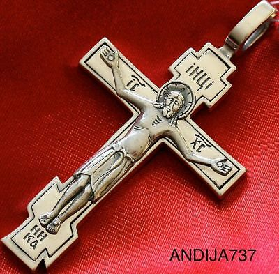 Big Sterling Silver 925 Russian Orthodox Body Crucifix Prayer Cross Fine Jewelry