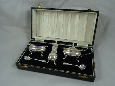 BOXED solid silver CONDIMENT SET , 1977