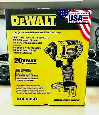 NEW!! DeWALT DCF885B 20V MAX Lithium-Ion 1/4 in. Impact Driver (SEALED NIB)