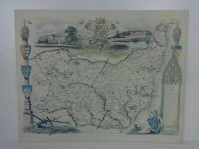 Vintage Map Of Suffolk 1700s Reproduction Wrightsons Foilgraphics London Large