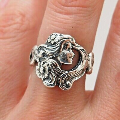 Antique Victorian 925 Sterling Silver Lady Woman Face Repousse Handcrafted Ring