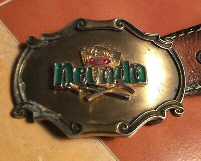 Leather Belt With Brass And Enamel Nevada  Belt Buckle Vintage