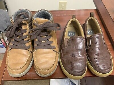Lot Of Two Pair Of Boys Shoes Size 1. Boots And Loafers