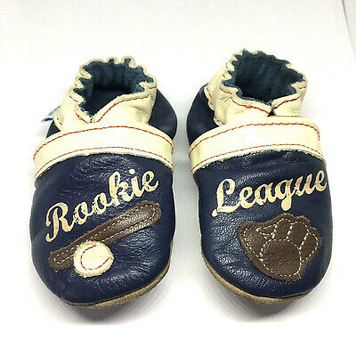 Robeez Genuine Leather Soft Baby Shoes Booties Baseball Rookie League 0 to 6 mon