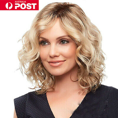 Women Girl Blonde Short Curly Wavy Wig Synthetic Hair Party Cosplay Full Wig NEW