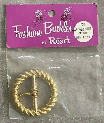 Vintage Gold Tone Belt Buckle Fashion Buckles Ronci Mod Retro NEW Card Old Stock