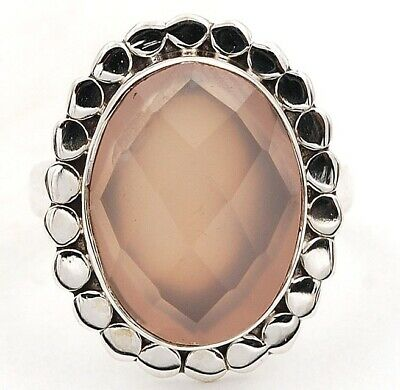 Faceted Rose Quartz 925 Solid Sterling Silver Ring Jewelry Sz 7 G7-9