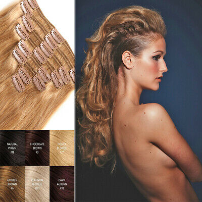 US Thick Double Weft Clip In Real Remy Human Hair Extensions Full Head Clearance